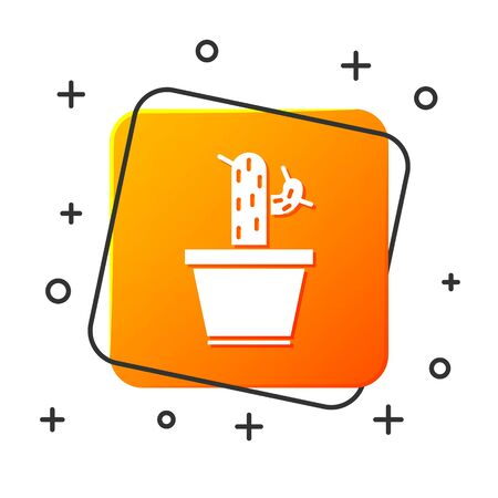 White Cactus and succulent in pot icon isolated on white background. Plant growing in a pot. Potted plant sign. Orange square button. Vector Illustration