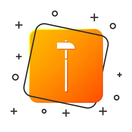 White Hammer icon isolated on white background. Tool for repair. Orange square button. Vector Illustration
