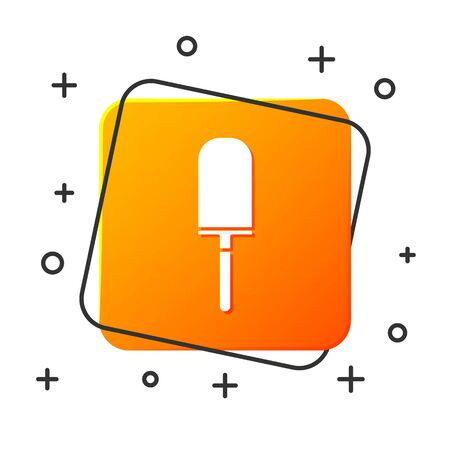 White Garden trowel spade or shovel icon isolated on white background. Gardening tool. Tool for horticulture, agriculture, farming. Orange square button. Vector Illustration