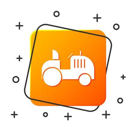 White Tractor icon isolated on white background. Orange square button. Vector Illustration Foto de archivo - 134878808