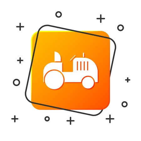 White Tractor icon isolated on white background. Orange square button. Vector Illustration Ilustrace