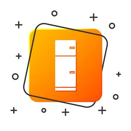 White Refrigerator icon isolated on white background. Fridge freezer refrigerator. Household tech and appliances. Orange square button. Vector Illustration