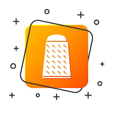 White Grater icon isolated on white background. Kitchen symbol. Cooking utensil. Cutlery sign. Orange square button. Vector Illustration Ilustracja