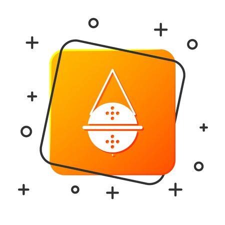 White Ball tea strainer icon isolated on white background. Orange square button. Vector Illustration