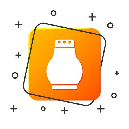 White Salt and pepper icon isolated on white background. Cooking spices. Orange square button. Vector Illustration Ilustracja