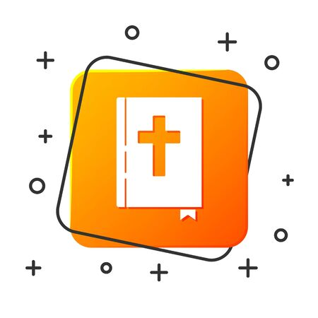 White Holy bible book icon isolated on white background. Orange square button. Vector Illustration