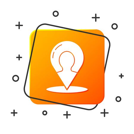 White Map marker with a silhouette of a person icon isolated on white background. GPS location symbol. Orange square button. Vector Illustration