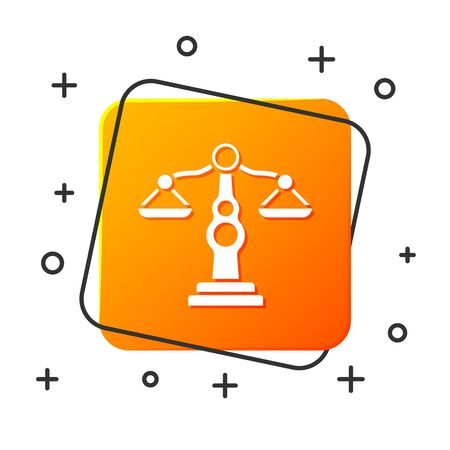 White Scales of justice icon isolated on white background. Court of law symbol. Balance scale sign. Orange square button. Vector Illustration 일러스트