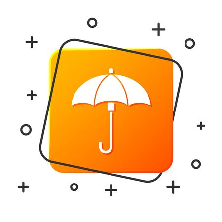 White Umbrella icon isolated on white background. Waterproof icon. Protection, safety, security concept. Water resistant symbol. Orange square button. Vector Illustration