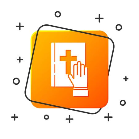 White Oath on the Holy Bible icon isolated on white background. The procedure in court. Truth and truth. Promise before god. Orange square button. Vector Illustration