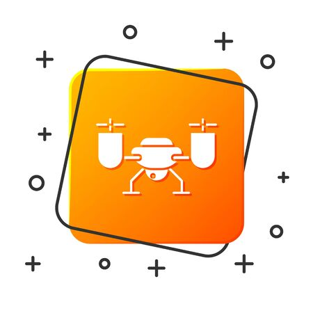 White Drone flying with action video camera icon isolated on white background. Quadrocopter with video and photo camera symbol. Orange square button. Vector Illustration
