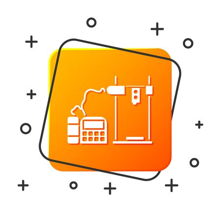 White 3D printer icon isolated on white background. Orange square button. Vector Illustration