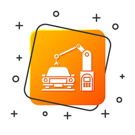 White Industrial machine robotic robot arm hand on car factory icon isolated on white background. Industrial automation production automobile. Orange square button. Vector Illustration