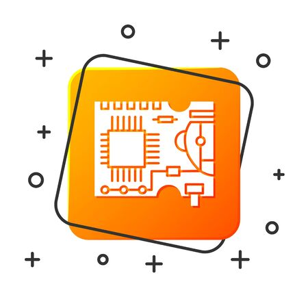 White Printed circuit board PCB icon isolated on white background. Orange square button. Vector Illustration