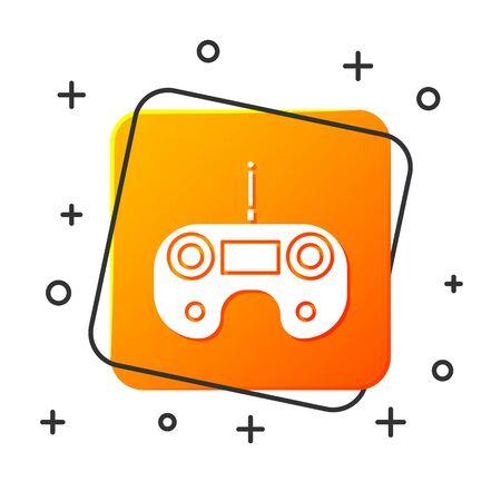 White Remote control icon isolated on white background. Orange square button. Vector Illustration