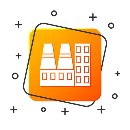 White Power station plant and factory icon isolated on white background. Energy industrial concept. Orange square button. Vector Illustration