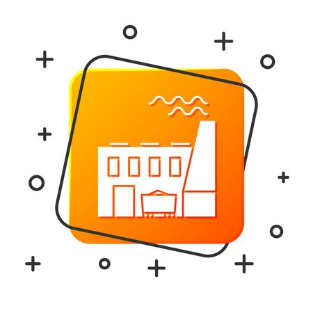 White Coal power plant and factory icon isolated on white background. Energy industrial concept. Coal power station. Orange square button. Vector Illustration Illustration