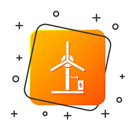 White Wind turbine icon isolated on white background. Wind generator sign. Windmill for electric power production. Orange square button. Vector Illustration Ilustracja