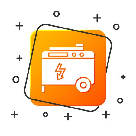 White Portable power electric generator icon isolated on white background. Industrial and home immovable power generator. Orange square button. Vector Illustration