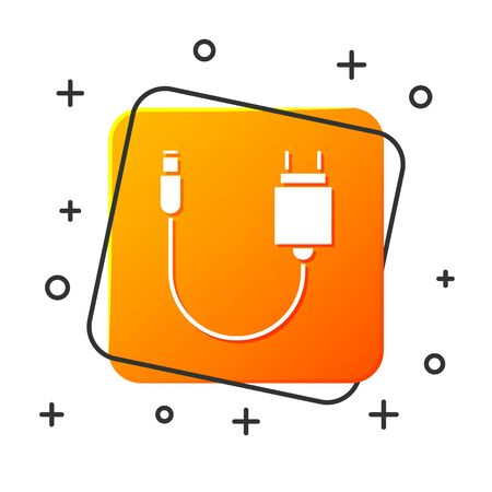 White Charger icon isolated on white background. Orange square button. Vector Illustration