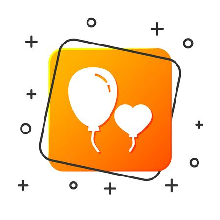 White Balloons in form of heart with ribbon icon isolated on white background. Orange square button. Vector Illustration Ilustracja