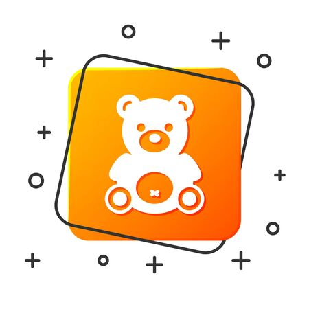 White Teddy bear plush toy icon isolated on white background. Orange square button. Vector Illustration 일러스트