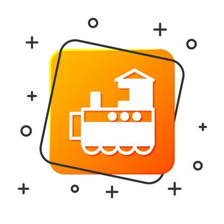 White Toy train icon isolated on white background. Orange square button. Vector Illustration Illustration
