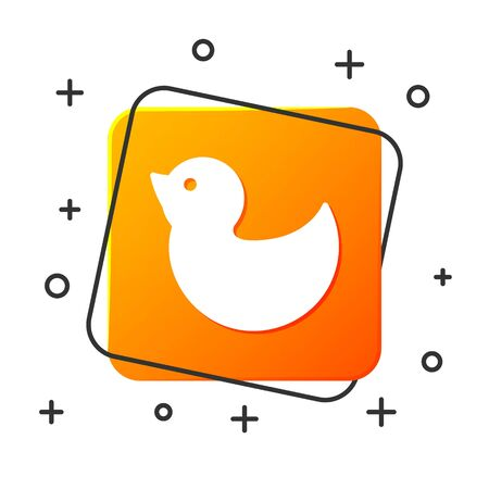 White Rubber duck icon isolated on white background. Orange square button. Vector Illustration