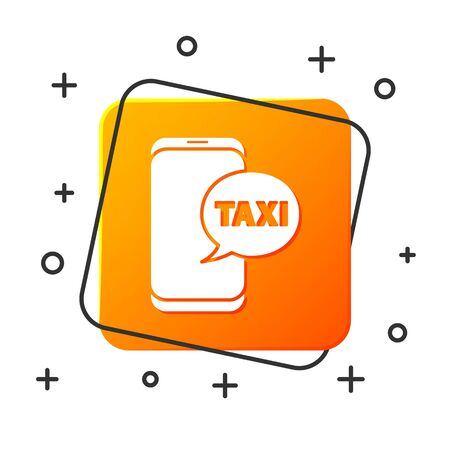 White Taxi call telephone service icon isolated on white background. Taxi for smartphone. Orange square button. Vector Illustration Foto de archivo - 134879307