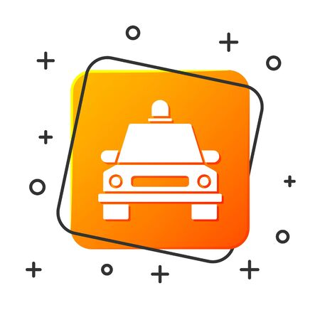 White Taxi car icon isolated on white background. Orange square button. Vector Illustration Foto de archivo - 134879308