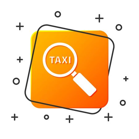 White Magnifying glass and taxi car icon isolated on white background. Taxi search. Orange square button. Vector Illustration Ilustracja