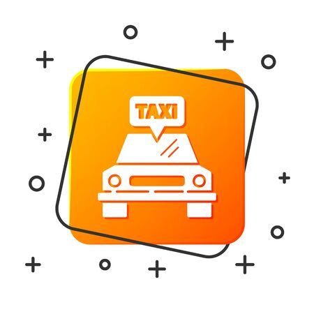 White Taxi car icon isolated on white background. Orange square button. Vector Illustration Foto de archivo - 134879313