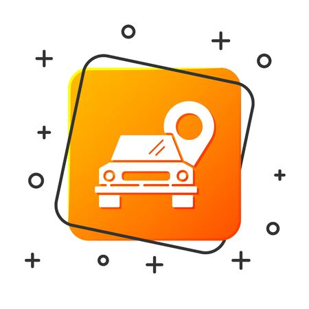 White Map pointer with taxi icon isolated on white background. Location symbol. Orange square button. Vector Illustration