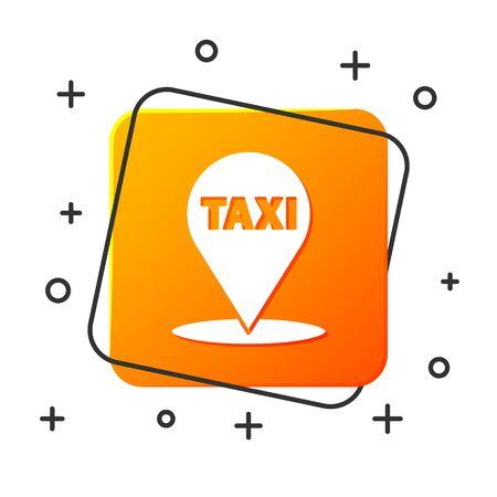 White Map pointer with taxi icon isolated on white background. Location symbol. Orange square button. Vector Illustration Foto de archivo - 134879336