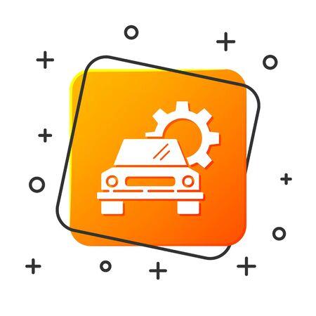 White Car service icon isolated on white background. Auto mechanic service. Repair service auto mechanic. Maintenance sign. Orange square button. Vector Illustration Foto de archivo - 134879352