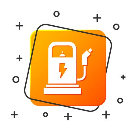 White Electric car charging station icon isolated on white background. Eco electric fuel pump sign. Orange square button. Vector Illustration Foto de archivo - 134879455