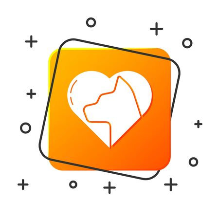 White Heart with cat icon isolated on white background. Love to the animals. Orange square button. Vector Illustration
