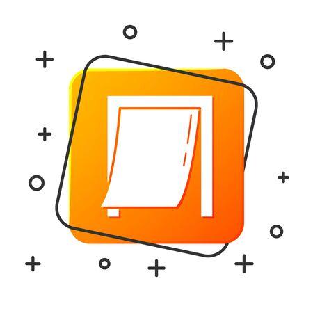 White Door for pet icon isolated on white background. Orange square button. Vector Illustration Illusztráció