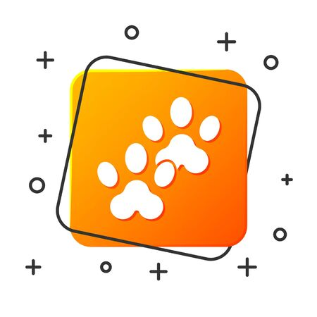White Paw print icon isolated on white background. Dog or cat paw print. Animal track. Orange square button. Vector Illustration