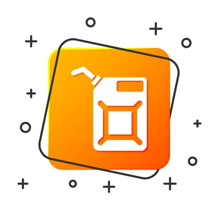 White Canister for gasoline icon isolated on white background. Diesel gas icon. Orange square button. Vector Illustration