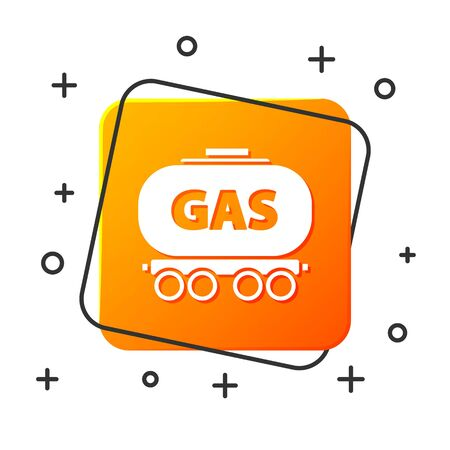 White Gas railway cistern icon isolated on white background. Train gasoline tank on railway car. Rail freight. Orange square button. Vector Illustration Illustration