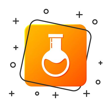 White Test tube and flask - chemical laboratory test icon isolated on white background. Laboratory glassware sign. Orange square button. Vector Illustration