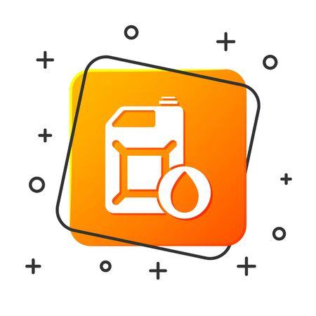 White Plastic canister for motor machine oil icon isolated on white background. Oil gallon. Oil change service and repair. Orange square button. Vector Illustration Foto de archivo - 134879567