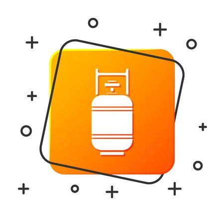 White Propane gas tank icon isolated on white background. Flammable gas tank icon. Orange square button. Vector Illustration Illusztráció
