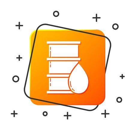 White Barrel oil icon isolated on white background. Orange square button. Vector Illustration Stock Illustratie