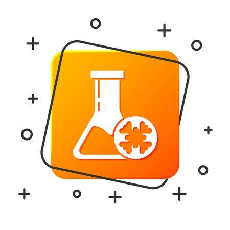 White Antifreeze test tube icon isolated on white background. Auto service. Car repair. Orange square button. Vector Illustration