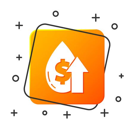 White Oil price increase icon isolated on white background. Oil industry crisis concept. Orange square button. Vector Illustration