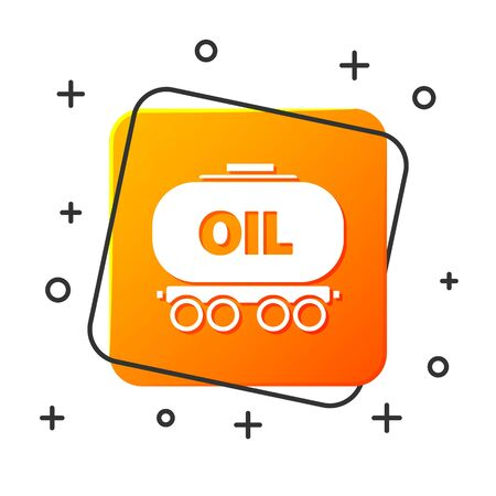 White Oil railway cistern icon isolated on white background. Train oil tank on railway car. Rail freight. Oil industry. Orange square button. Vector Illustration Illustration