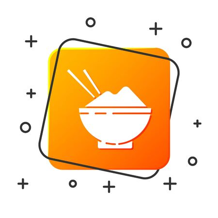 White Rice in a bowl with chopstick icon isolated on white background. Traditional Asian food. Orange square button. Vector Illustration
