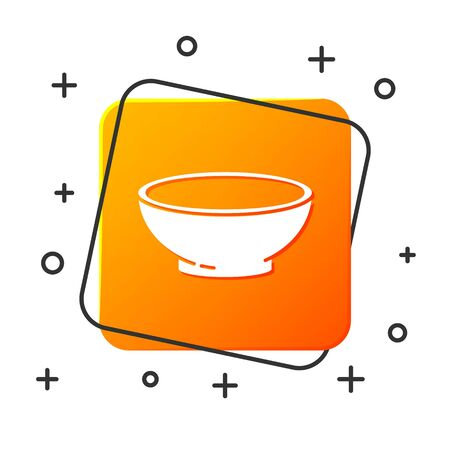 White Bowl of hot soup icon isolated on white background. Orange square button. Vector Illustration